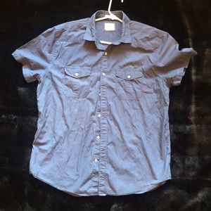 Express blue soft wash slim casual shirt.